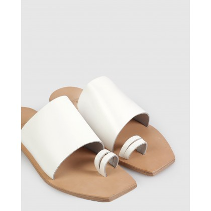 Charlotte Flat Sandals White by Beau Coops