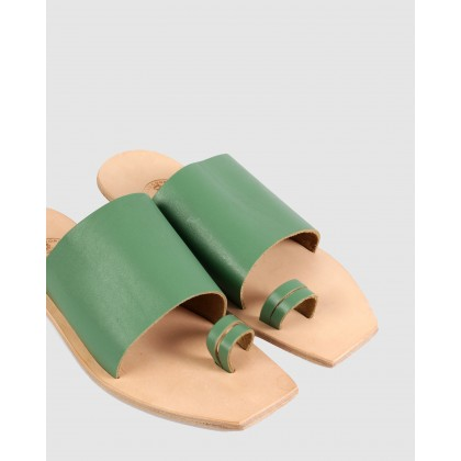 Charlotte Flat Sandals Green by Beau Coops