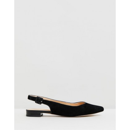 Charlotte Leather Flats Black Suede by Atmos&Here