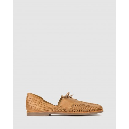 Charter Woven Leather Huaraches Tan by Betts