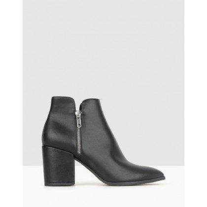 Cheetah Block Heel Ankle Boots Black by Betts