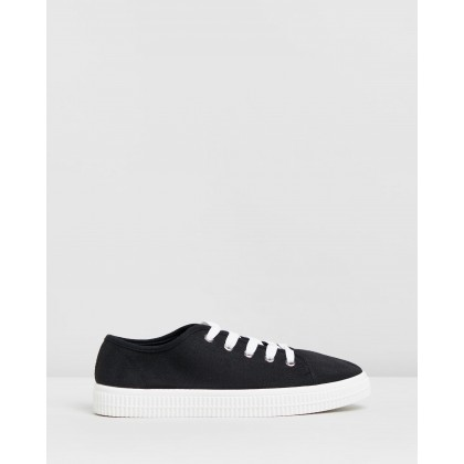 Chelsea Creeper Plimsoll Shoes Black Twill by Rubi
