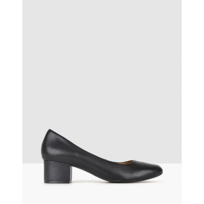 Cherish Leather Block Heel Pumps Black by Airflex
