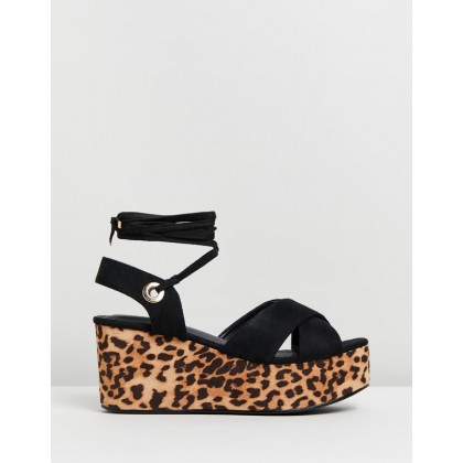 Chica Flatform Wedges Black & Leopard by Dazie