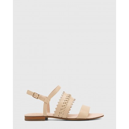 Christina Leather Open Toe Flat Sandals Beige by Wittner