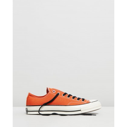 Chuck 70 Organic Canvas Sneakers - Unisex Campfire Orange, Black & Egret by Converse