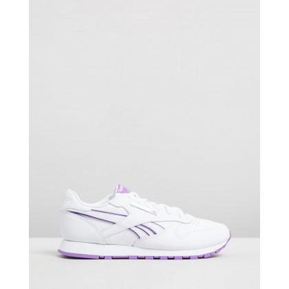 CL Leather - Women's White & Grape Punch by Reebok Classics