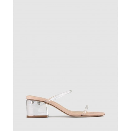Clara Perspex Heel Mules Nude Clear by Betts