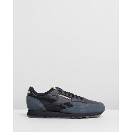 Classic Leather - Men's Black, True Grey & Neon Lime by Reebok