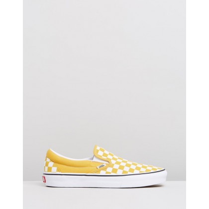 Classic Slip-On - Women's Checkerboard Yolk Yellow & True White by Vans