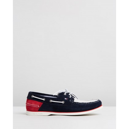 Classic Suede Boat Shoes Red, White & Blue by Tommy Hilfiger