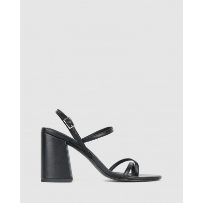Claudia Strappy Flared Heel Sandals Black by Betts