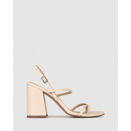 Claudia Strappy Flared Heel Sandals Nude by Betts