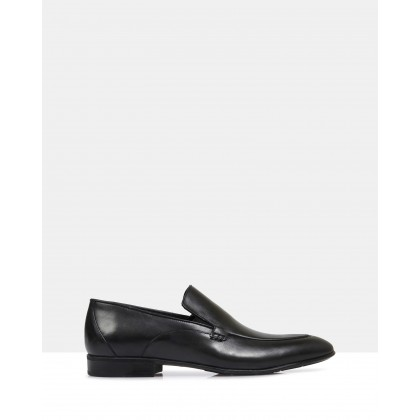 Clayton Leather Slip Ons Antique Black by Brando
