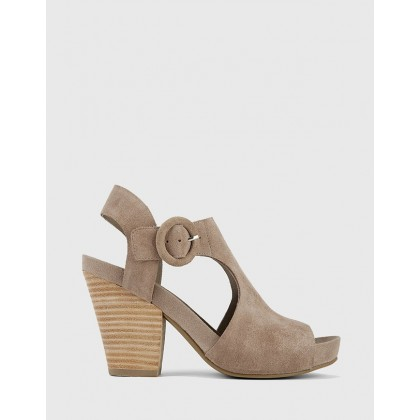 Cleary Open Toe Block Heel T-Bar Sandals Grey by Wittner