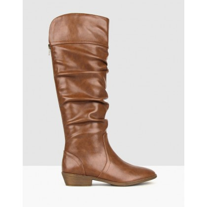 Cleveland Ruched Knee High Boots Tan by Betts