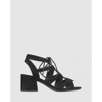 Clove Lace Block Heel Sandals Black by Betts