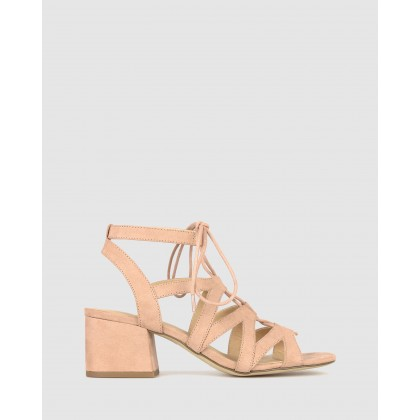 Clove Lace Block Heel Sandals Cameo Rose by Betts