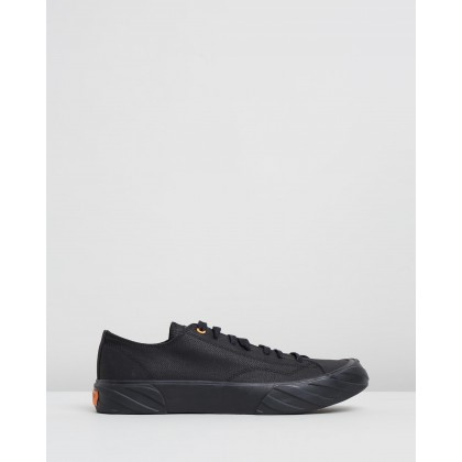 Coated Canvas Sneakers Black & Orange by Age