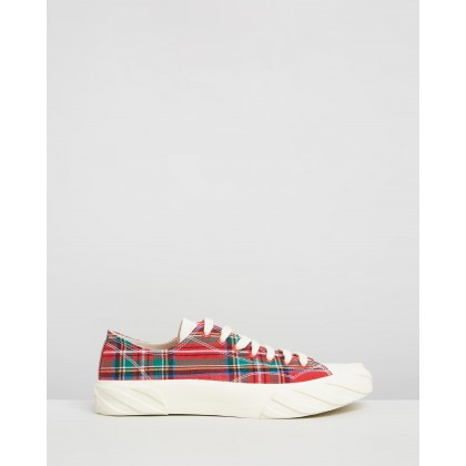 Coated Canvas Sneakers Red Check Cotton by Age