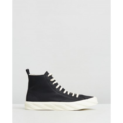 Coated Canvas Sneakers Black by Age
