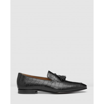 Connery Loafers Croc. Black by Aquila