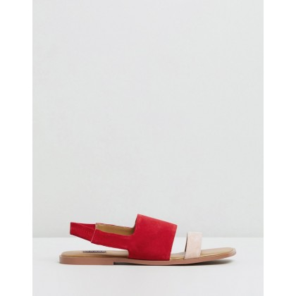 Contrast Suede Flats Scarlet by Jaggar The Label