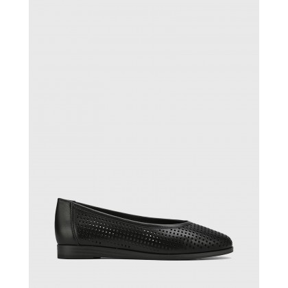 Coraline Perforated Leather Stack Heel Flats Black by Wittner