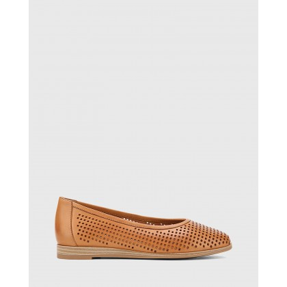 Coraline Perforated Leather Stack Heel Flats Tan by Wittner