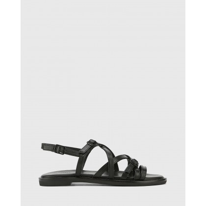 Cordelia Leather Buckle Strap Flat Sandals Black by Wittner