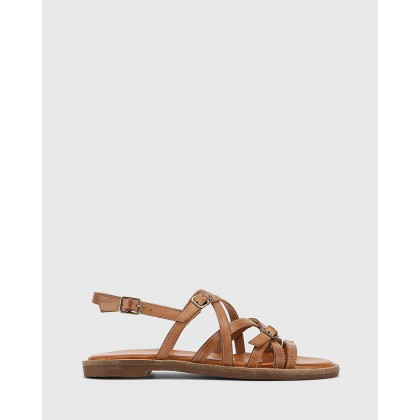 Cordelia Leather Buckle Strap Flat Sandals Tan by Wittner
