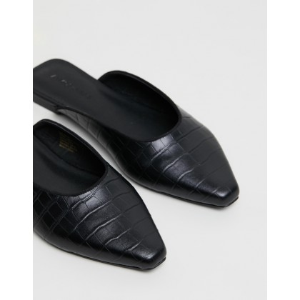 Corelli Leather Flats Black Croc by Atmos&Here