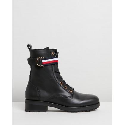 Corporate Ribbon Biker Boots Black by Tommy Hilfiger