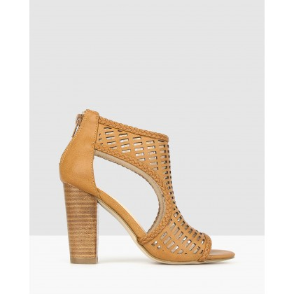 Cosmic Cut Out Block Heels Tan by Betts