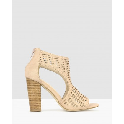 Cosmic Cut Out Block Heels Blush Micro Suede by Betts