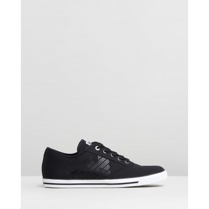 Cotton Twill Lace Up Sneakers Black by Emporio Armani Ea7