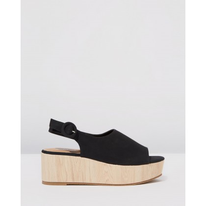 Courtney Faux Wood Wedges Black by Rubi