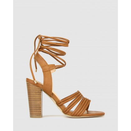 Crest Block Heel Sandals Tan by Betts