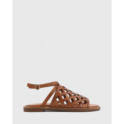 Cross Leather Laser Cut Ankle Strap Sandals Tan by Wittner