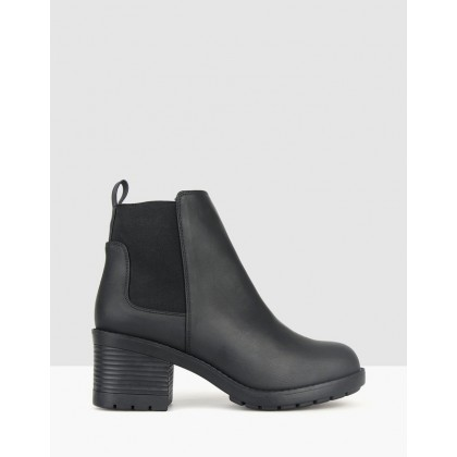 Crush Chunky Block Heel Boots Black by Betts