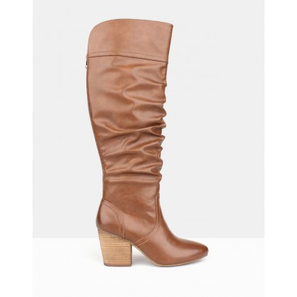 Cuba Ruched Knee-High Boots Tan by Betts