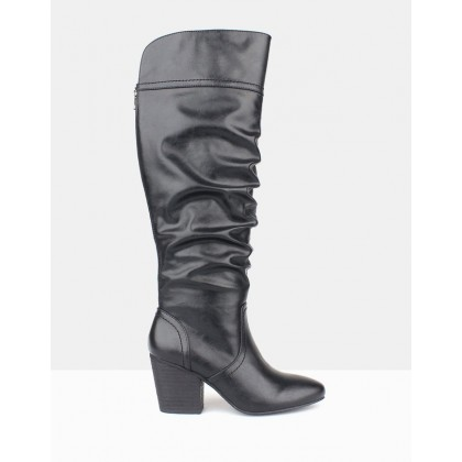 Cuba Ruched Knee-High Boots Black by Betts