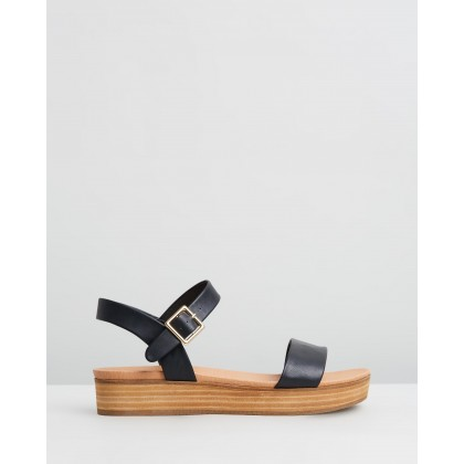 Cynthia Flatform Sandals Black Smooth by Spurr