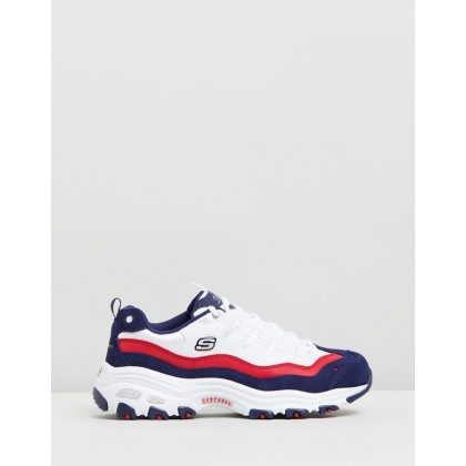 D'Lites Sure Thing - Women's White, Navy & Red by Skechers