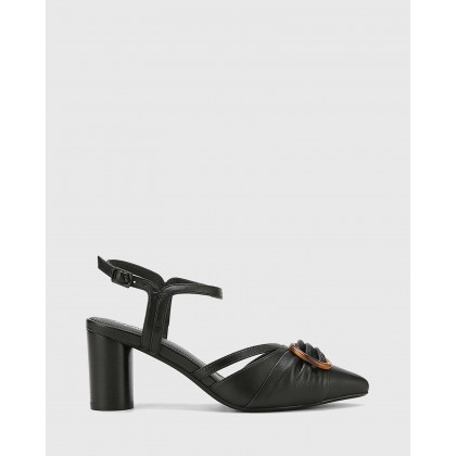 Daelyn Leather Block Heels Black by Wittner