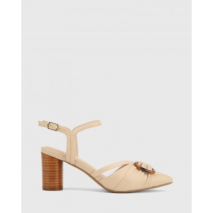 Daelyn Leather Block Heels Beige by Wittner