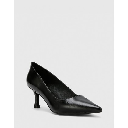 Daiko Leather Pointed Toe Stiletto Heels Black by Wittner