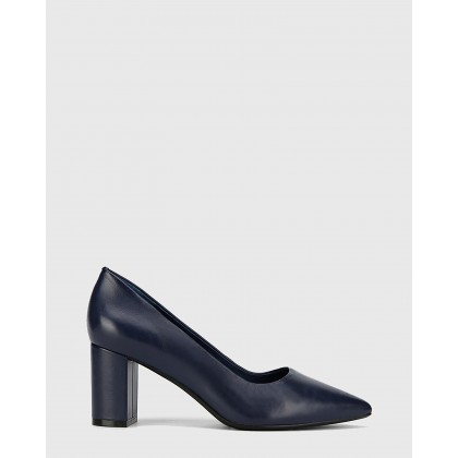 Dalena Leather Pointed Toe Block Heels Navy by Wittner