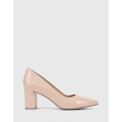 Dalena Pointed Toe Block Heels Pink by Wittner