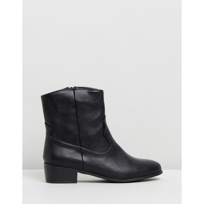 Dallas Ankle Boots Black by Dazie